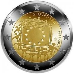 Moneda 2 euros conmemorativa 30º Aniv. Bandera Eslovaquia