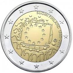 Moneda 2 euros conmemorativa Finlandia 2015 Aniv. Bandera UE