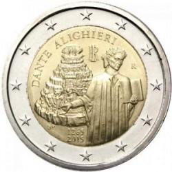Moneda 2 euros conmemorativa. Italia 2015 Dante Alighieri