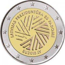 Moneda 2 euros conmemorativa Letonia 2015 Presidencia de Europa