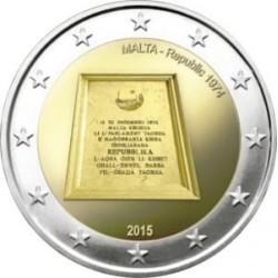 Moneda 2 euros conmemorativa. Malta 2015 República 1974