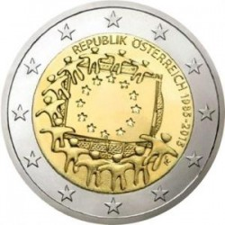 Moneda 2 euros conmemorativa 30º Aniv. Bandera. Austria