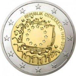 Moneda 2 euros conmemorativa Austria 2015 Aniv. Bandera UE