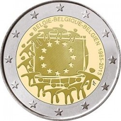 Moneda 2 euros conmemorativa Bélgica 2015 Aniv. Bandera UE