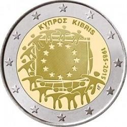 Moneda 2 euros conmemorativa Chipre 2015 Aniv. Bandera UE