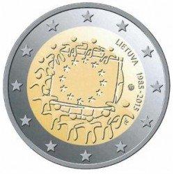 Moneda 2 euros conmemorativa Lituania 2015 Aniv. Bandera UE