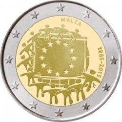 Moneda 2 euros conmemorativa 30º Aniv. Bandera. Luxemburgo