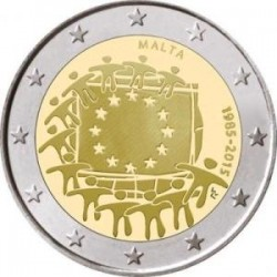 Moneda 2 euros conmemorativa Malta 2015 Aniv. Bandera UE