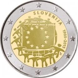 Moneda 2 euros conmemorativa Eslovenia 2015 Aniv. Bandera UE