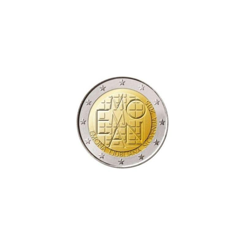 Moneda 2 euros conmemorativa. Eslovenia 2015 Emona