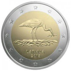 Moneda 2 euros conmemorativa. Letonia 2015 Cigüeña Negra