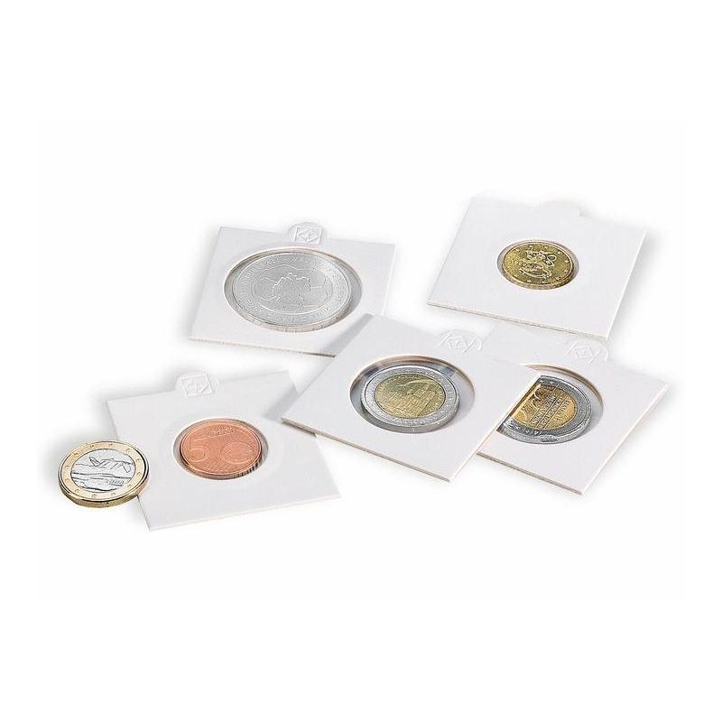 Cartones para monedas Leuchtturm 20 mm. Ø autoadhesivos (100 unds.)