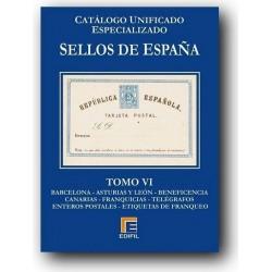 Catálogo de Sellos Edifil España Especializado Tomo VI  Barcelona...