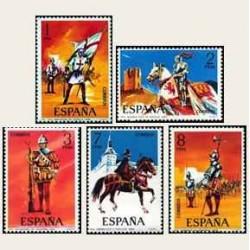 1973 Sellos de España (2139/43). Uniformes Militares.