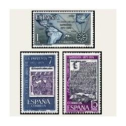 1973 Sellos de España (2164/66). V Centenario de la Imprenta.