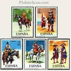 1974 Sellos de España (2167/71). Uniformes Militares.