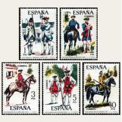 1975 Sellos de España (2236/40). Uniformes Militares.