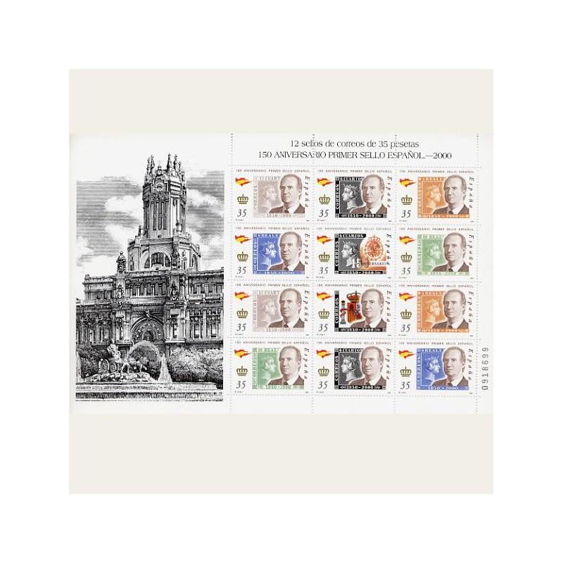 2000 España. 150 Aniv. del Primer Sello Español. Minipliego (Edif.MP-68)**