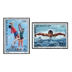 1972 Sellos de Andorra (correo español). Olimpiada de Munich (Edif. 77/78)*