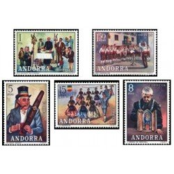 1972 Sellos de Andorra (correo español). Costumbres (Edif. 80-84)**