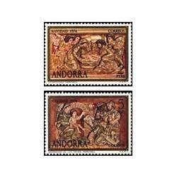 1974 Sellos de Andorra (correo español). Navidad (Edif. 94/95)**