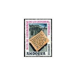 1975 Sellos de Andorra (correo español). Acta de La Catedral D'Urgell (Edif