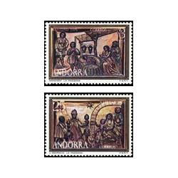 1976 Sellos de Andorra (correo español). Navidad (Edif. 106/7)**