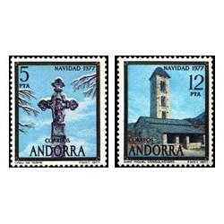 1977 Sellos de Andorra (correo español). Navidad (Edif. 110/1)**