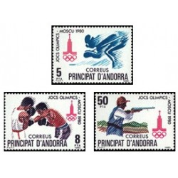 1980 Sellos de Andorra (correo español). Olimpiadas Moscú '80 (Edif. 135/7)