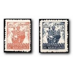 Barcelona 1943. 450 Aniv. de la Llegada de Colón a Barcelona. Edif.49/50 **
