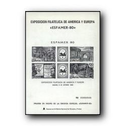 1980 Prueba Oficial. Exp. Filatélica de América y Europa ESPAMER´80