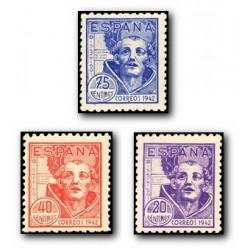 1942 Sellos de España (954/56). IV Cent San Juan de la Cruz.