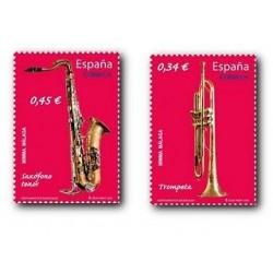 Sellos de España 2010. Instrumentos, Trompeta y Saxofon. **