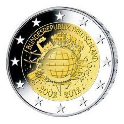 Moneda 2 euros conmemorativa Alemania 2012 10º Aniv. Euro (5 cecas)
