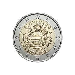 Moneda 2 euros conmemorativa 10º Aniv. Euro. Eslovaquia 2012