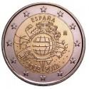 Moneda 2 euros conmemorativa 10º Aniv. Euro. España 2012