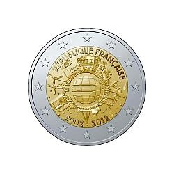 Moneda 2 euros conmemorativa 10º Aniv. Euro. Francia 2012