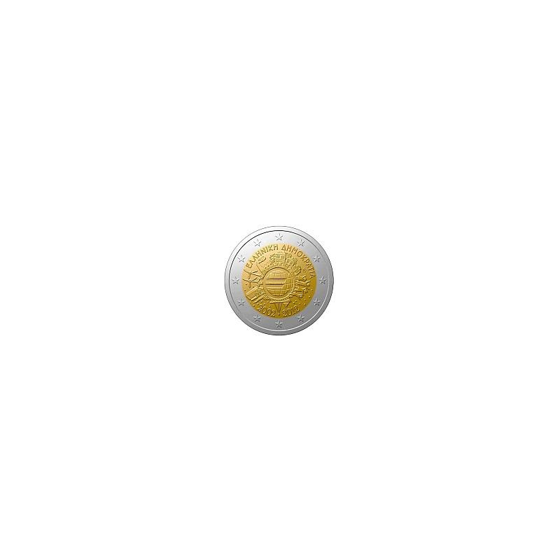 Moneda 2 euros conmemorativa 10º Aniv. Euro. Grecia 2012