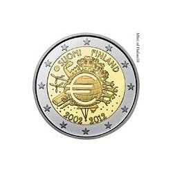 Moneda 2 euros conmemorativa 10º Aniv. Euro. Finlandia 2012