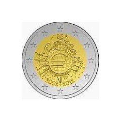 Moneda 2 euros conmemorativa Bélgica 2012 10º Aniv. Euro