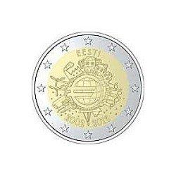 Moneda 2 euros conmemorativa 10º Aniv. Euro. Estonia 2012