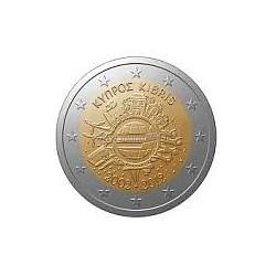 Moneda 2 euros conmemorativa 10º Aniv. Euro. Chipre 2012