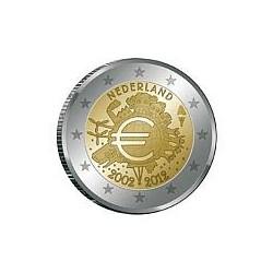 Moneda 2 euros conmemorativa Holanda 2012 10º Aniv. Euro