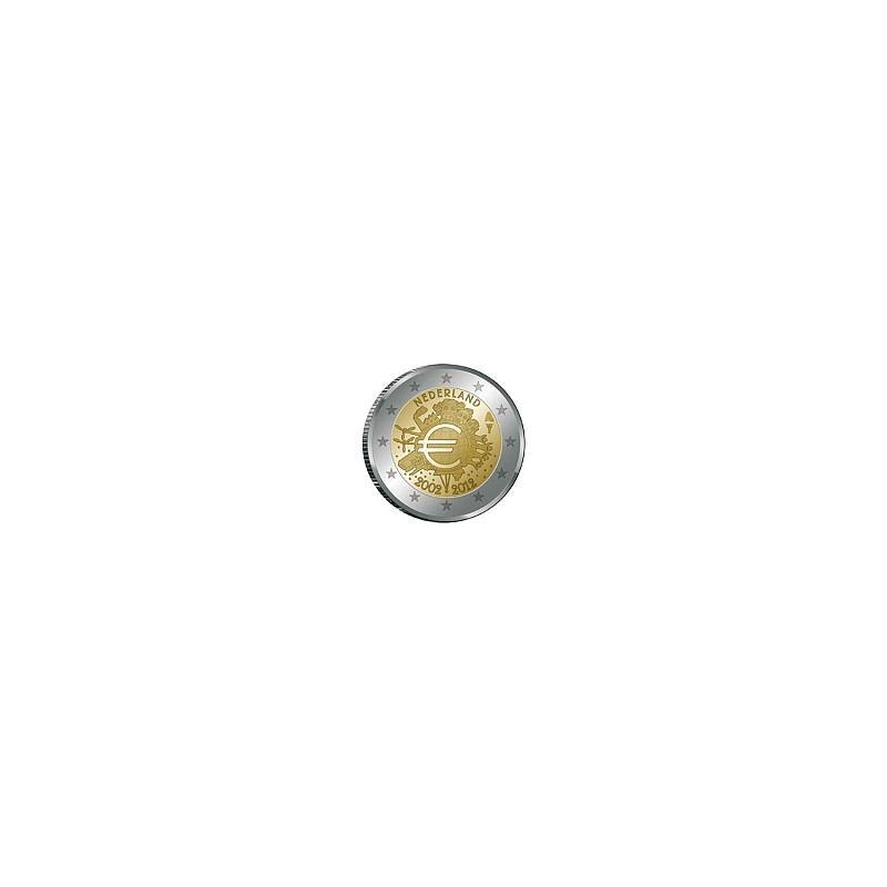 Moneda 2 euros conmemorativa 10º Aniv. Euro. Holanda 2012