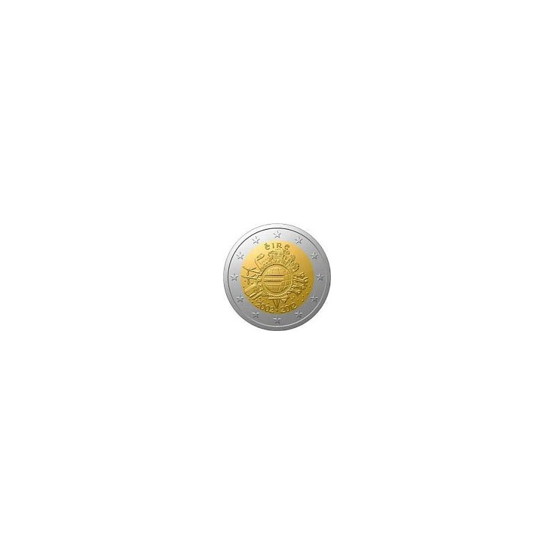 Moneda 2 euros conmemorativa 10º Aniv. Euro. Irlanda 2012