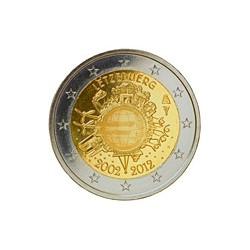 Moneda 2 euros conmemorativa 10º Aniv. Euro. Luxemburgo 2012