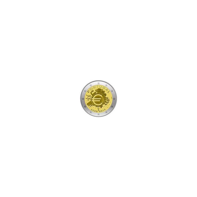 Moneda 2 euros conmemorativa 10º Aniv. Euro. Portugal 2012