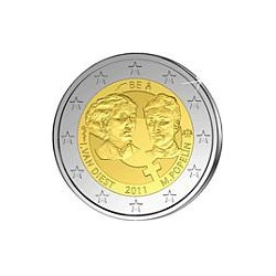 Moneda 2 euros conmemorativa. Belgica 2011.