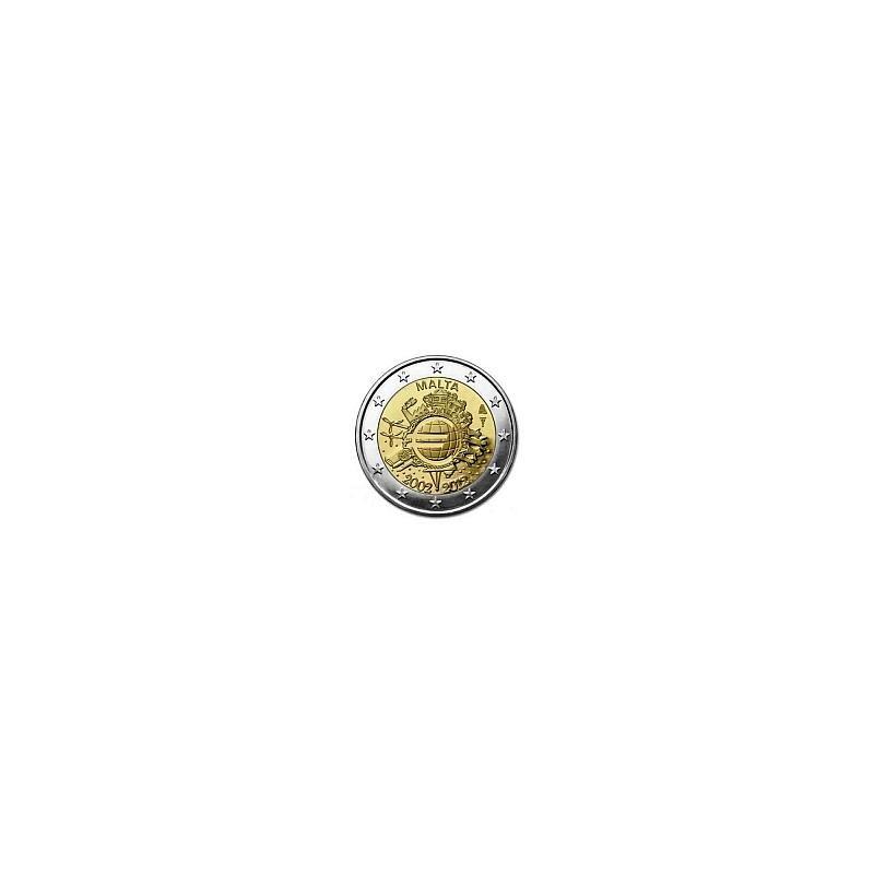 Moneda 2 euros conmemorativa 10º Aniv. Euro. Malta 2012