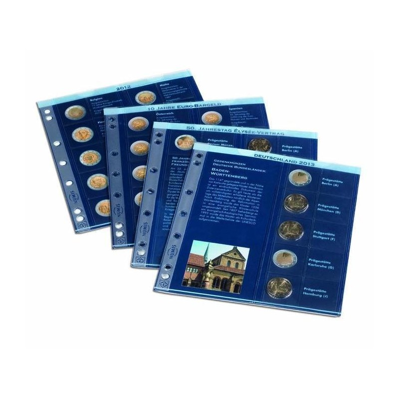 Hojas para monedas preimpresas anuales 2 euros conmem. (2009/2010)